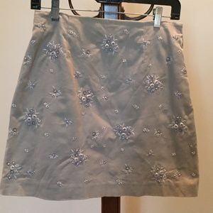 Ann Taylor beige flowered skirt
